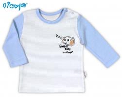Kojenecké bavlněné tričko NICOL VESELÝ SLONÍK - dlouhý rukáv
