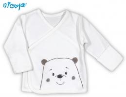 BIO kojenecká košilka NICOL MEDVÍDEK - zapínání bokem