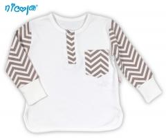BIO kojenecké bavlněné tričko NICOL MEDVÍDEK - dlouhý rukáv