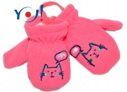 Zimní kojenecké polarové  rukavičky YO - lososové