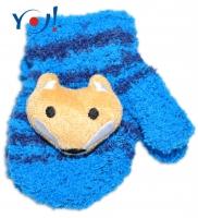 Zimní kojenecké  froté rukavičky se šňůrkou YO - inkoustové/granátové - liška