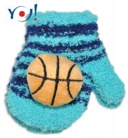 Zimní kojenecké  froté rukavičky se šňůrkou YO - tyrkysové/granátové - míč
