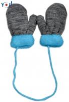 Zimní kojenecké  rukavičky s kožíškem - se šňůrkou  YO - grafit/modrý kožíšek