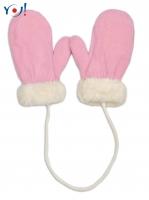 Zimní kojenecké  rukavičky s kožíškem - se šňůrkou  YO - sv. růžové/smetanový kožíšek