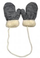 Zimní kojenecké  rukavičky s kožíškem - se šňůrkou  YO - šedé/smetanový kožíšek