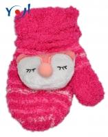 Zimní kojenecké  froté rukavičky se šňůrkou YO - malinové/sv. růžové - sovička