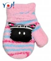 Zimní kojenecké  froté rukavičky se šňůrkou YO - sv. růžové/sv. modré - zebra