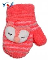 Zimní kojenecké  froté rukavičky se šňůrkou YO - lososové/bílé - sovička