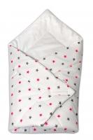 Novorozenecká zavinovačka Baby Nellys ®- růžovo/šedé hvězdičky na bílém podkladu