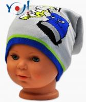 Podzimní čepička YO ! Grafitti - sv.šedá/modrý lem