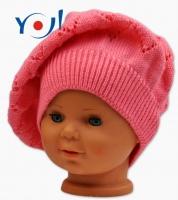 Háčkovaný baret YO ! - růžový