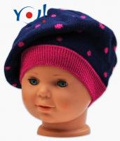 Podzimní baret YO ! Puntíky - tm. modrá/ růžové puntíky