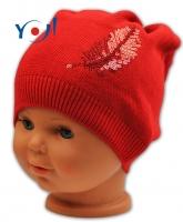 Bavlněná čepička YO ! Pírko - červená
