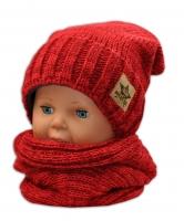 Podzimní/zimní čepice s komínkem - červená melír