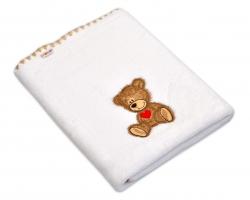 Dečka Colar Baby Nellys ® Sweet TEDDY 80x100cm - bílá