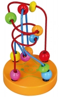 Edukační dřevěná hračka mini labyrint 12 cm - Hvězdička - oranžový
