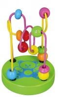 Edukační dřevěná hračka mini labyrint 12 cm - Medvídek - zelený