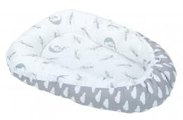 Oboustranné hnízdečko - kokon pro miminko - Mráčky bílé na šedém / Víly šedé