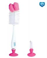 Kartáč k mytí lahviček a dudlíků s přísavkou Canpol Babies - růžový