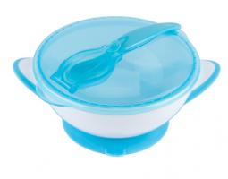 Uzaviratelná miska s přísavkou a lžičkou Baby Ono - modrá