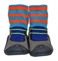 YO ! Ponožtičky s gumovou šlapkou - Botička/oranžové proužky