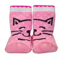 YO ! Ponožtičky s gumovou šlapkou - Kočičky růžové