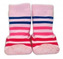 YO ! Ponožtičky s gumovou šlapkou - Proužky růžové