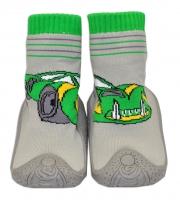 YO ! Ponožtičky s gumovou šlapkou - Autíčko zelené