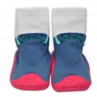 YO ! Ponožtičky s gumovou šlapkou - Mašlička šedé