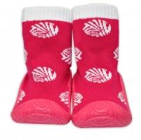 YO ! Ponožtičky s gumovou šlapkou - Puntíky tm. růžová