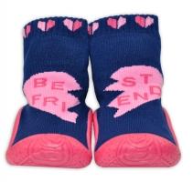YO ! Ponožtičky s gumovou šlapkou - Tm. modré se srdíčky