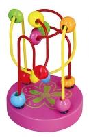 Edukační dřevěná hračka mini labyrint 12 cm - Květinka - růžový