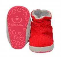 Manšestrové  zimní capačky/botičky BOBO BABY - červené