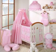 Luxusní 5D set s nebesy z celé látky Mamo Tato - Love růžový