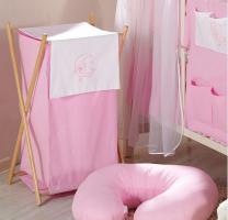 Luxusní praktický koš na prádlo - MĚSÍC růžový
