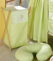 Luxusní praktický koš na prádlo - MEDVÍDEK SE SRDÍČKEM zelený