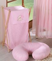 Luxusní praktický koš na prádlo - MEDVÍDEK SE SRDÍČKEM růžový