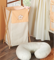 Luxusní praktický koš na prádlo - MEDVÍDEK SE SRDÍČKEM broskev