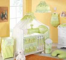 Luxusní mega set s moskytiérou - Zajíčci zelení kostička.