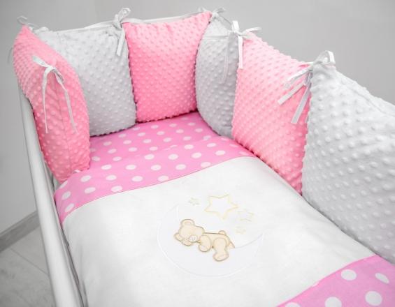 Polštářkový mantinel s Minky s povlečením s vyšívkou  - růžová,bílá,tečky - Měsíček