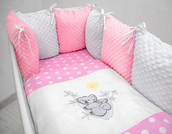 Polštářkový mantinel s Minky s povlečením s vyšívkou  - růžová,bílá,tečky - Koala