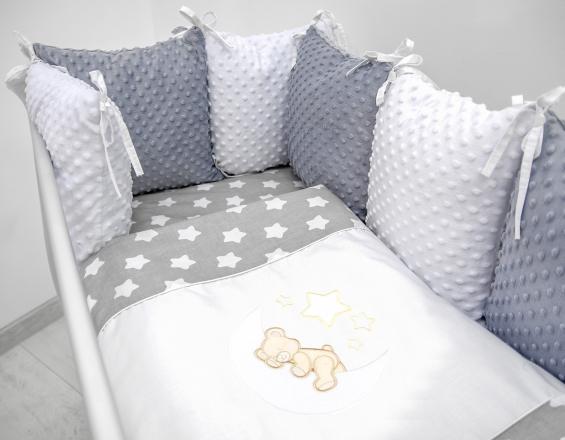 Polštářkový mantinel s Minky s povlečením s vyšívkou  - šedá,bílá,hvězdičky V - Měsíček