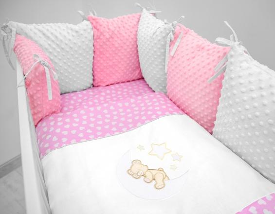 Polštářkový mantinel s Minky s povlečením s vyšívkou  - růžová,bílá,srdíčka - Měsíček