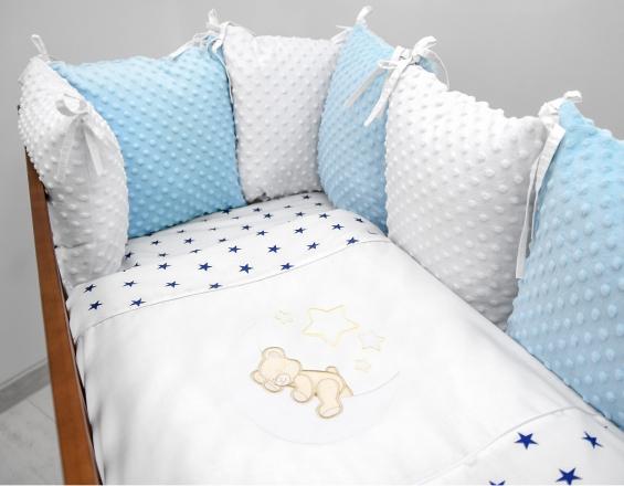 Polštářkový mantinel s Minky s povlečením s vyšívkou  - bílá,modrá,hvěz/gran - Měsíček