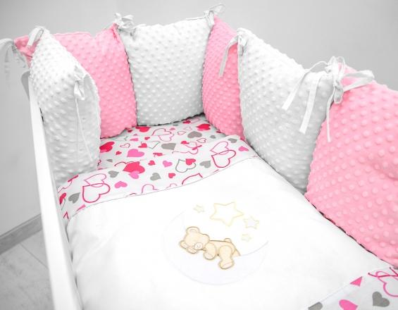 Polštářkový mantinel s Minky s povlečením s vyšívkou  - bílá,růžová,love - Měsíček