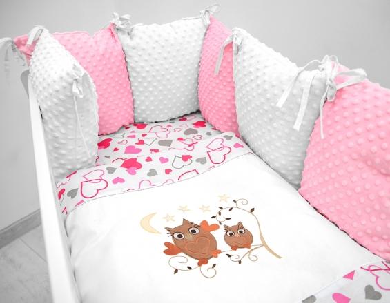 Polštářkový mantinel s Minky s povlečením s vyšívkou  - bílá,růžová,love - Sovičky