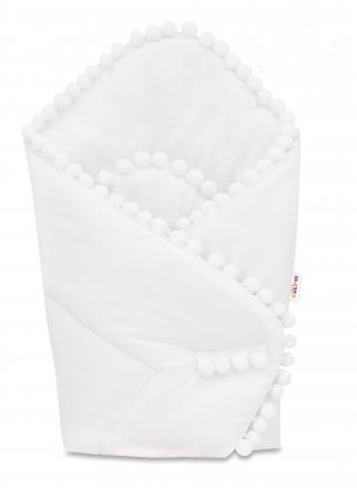 Baby Nellys  Novorozenecká bavlněná zavinovačka s bambulkami, 75x75cm - bílá