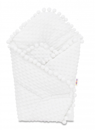 Baby Nellys  Novorozenecká minky zavinovačka s bambulkami, 75x75cm - bílá