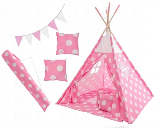 Kids Stan pro děti teepee, týpí s výbavou - Puntíky, 120x120x180 cm, růžovo/bílý