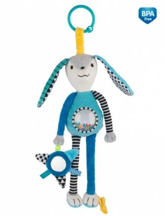 Canpol babies Závěsná plyšová hračka se zrcátkem a chrastítkem - modrá